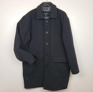 Claiborne Men's 100% Wool Charcoal Gray Peacoat Lg